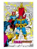 Infinity Gauntlet No.5 Group: Thanos, Dr. Strange, Silver Surfer, Adam Warlock and Nebula Crouching Kunstdrucke von George Perez