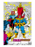 Infinity Gauntlet No.5 Group: Thanos, Dr. Strange, Silver Surfer, Adam Warlock and Nebula Crouching Prints by George Perez