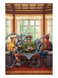 Marvel Adventures Spider-Man 33 Cover: Spider-Man, May Parker and Doctor Octopus Swinging Posters by Patrick Scherberger