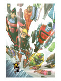 Exiles No.64 Cover: Beak, Colossus, Vision, Magnus and Thunderbird Charging Prints by Mizuki Sakakibara