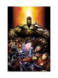 World War Hulk 4 Cover: Hulk, Dr. Strange, Mr. Fantastic and Iron Man Posters par David Finch