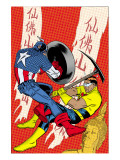 X-Statix 22 Cover: Captain America and The Anarchist Fighting and Shooting Affiches par Michael Allred