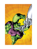 Marvel Adventures Hulk 7 Cover: Hulk and Silver Surfer Poster par Santacruz Juan