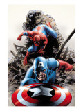 Spectacular Spider-Man #15 Cover: Captain America and Spider-Man Poster tekijänä Steve Epting