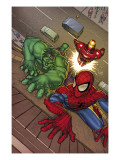 Marvel Adventures Super Heroes No.3 Cover: Spider-Man, Hulk and Iron Man Prints by Roger Cruz