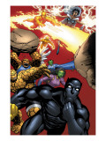 Black Panther No.29 Group: Black Panther, Thing, Storm, Human Torch and Lyja Posters by Francis Portella