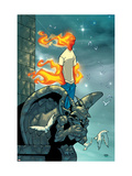 Human Torch No.9 Cover: Human Torch Fighting Print by Skottie Young