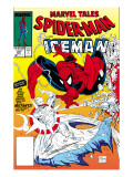 Marvel Tales: Spider-Man 227 Cover: Spider-Man and Iceman Fighting Prints by Todd McFarlane