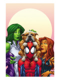 Marvel Adventures Super Heroes 13 Cover: Spider-Man, She-Hulk and Tigra Affiche par Patrick Scherberger