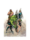 Incredible Hulk No.109 Cover: Hulk, Namora, Hercules, Angel, Black and Carmilla Posters by Carlo Pagulayan