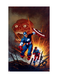 Captain America 8 Cover: Captain America, Bucky and Red Skull Swimming Art par Joe Jusko
