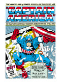 Marvel Comics Retro: Captain America Comic Panel; Smashing through Window; Red, White and Blue Arte