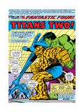 Fantastic Four N167 Cover: Hulk, Thing, Mr. Fantastic, Invisible Woman and Human Torch Stretching Lminas por George Perez