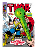 Marvel Comics Retro: The Mighty Thor Comic Book Cover No.144, Charging, Swinging Hammer Posters
