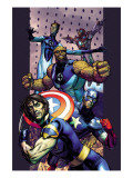 Ultimate Extinction No.2 Cover: Captain America, Thing, Mr. Fantastic and Iron Man Fighting Prints by Brandon Peterson