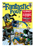 Marvel Comics Retro: Fantastic Four Family Comic Book Cover No.2, Fighting Skrulls Prints