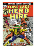 Marvel Comics Retro: Luke Cage, Hero for Hire Comic Book Cover No.14, Fighting Big Ben Print