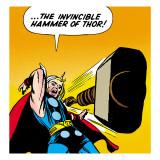 Marvel Comics Retro: Mighty Thor Comic Panel, Throwing Hammer Kunstdrucke