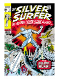 Marvel Comics Retro: Silver Surfer Comic Book Cover No.18, Against the Unbeatable Inhumans! Prints