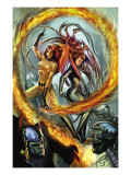 Secret Invasion: Inhumans 2 Cover: Medusa and Crystal Fighting Poster
