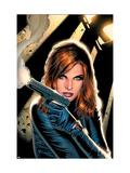 Black Widow No.2 Cover: Black Widow Charging Kunstdrucke von Land Greg
