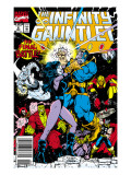 Infinity Gauntlet 6 Cover: Adam Warlock, Thanos, Nebula, Silver Surfer, Hulk and Thor Fighting Posters by George Perez