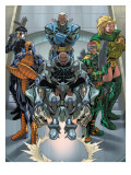 Cable Deadpool No.7 Group: Domino, Bridge, GW, Hammer, Anaconda, Solo and Six Pack Charging Posters by Patrick Zircher