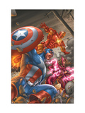 Avengers V3 No.78 Cover: Captain America, Iron Man, Scarlet Witch and Avengers Art by Scott Kolins