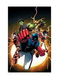 The Young Avengers 1 Cover: Patriot, Hulkling, Wiccan, Iron Lad, Asgardian and Young Avengers Prints by Jim Cheung