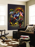 The Official Handbook Of The Marvel Universe: Avengers 2004 Cover: Captain America Wall Mural by Salvador Larroca