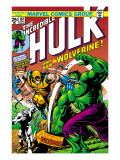 Marvel Comics Retro: The Incredible Hulk Comic Book Cover 181, with Wolverine and the Wendigo Prints