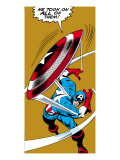 Marvel Comics Retro: Captain America Comic Panel, Throwing Shield Prints