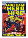 Marvel Comics Retro: Luke Cage, Hero for Hire Comic Book Cover No.1, Origin Prints