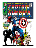 Marvel Comics Retro: Captain America Comic Book Cover No.100, with Black Panther, Thor, Namor, Wasp Poster