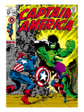 Marvel Comics Retro: Captain America Comic Book Cover No.110, with the Hulk and Bucky Prints