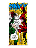 Marvel Comics Retro: The Invincible Iron Man Comic Panel, Fighting Stretched Canvas Print
