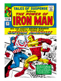 Marvel Comics Retro: The Invincible Iron Man Comic Book Cover No.58, Facing Captain America Prints