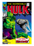 Marvel Comics Retro: The Incredible Hulk Comic Book Cover No.104, with the Rhino Poster