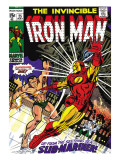 Marvel Comics Retro: The Invincible Iron Man Comic Book Cover 25, Fighting Namor, Sub-Mariner Posters