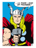 Marvel Comics Retro: Mighty Thor Comic Panel; God of Thunder! Holding Hammer Prints