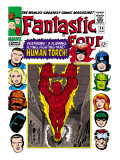 Marvel Comics Retro: Fantastic Four Family Comic Book Cover No.54, Featuring the Human Torch Posters