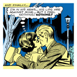 Marvel Comics Retro: Love Comic Panel, Kissing in the Park Prints