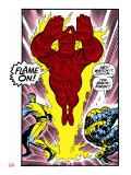 Marvel Comics Retro: Fantastic Four Comic Panel, Thing, Mr. Fantastic, Human Torch Stretched Canvas Print