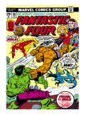 Marvel Comics Retro: Fantastic Four Family Comic Book Cover 166, Thing Vs. Hulk Prints