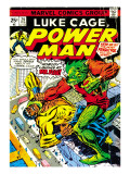 Marvel Comics Retro: Luke Cage, Power Man Comic Book Cover 29, Fighting Mr. Fish Prints
