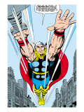 Marvel Comics Retro: Mighty Thor Comic Panel, Flying Posters