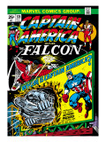 Marvel Comics Retro: Captain America Comic Book Cover No.178, with the Falcon Art