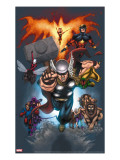 The Official Handbook Of The Marvel Universe: Book of the Dead 2004 Cover: Thor Jumping Reproducción en lienzo de la lámina por Salvador Larroca