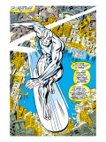 Marvel Comics Retro: Silver Surfer Comic Panel, Over the City Kunstdrucke