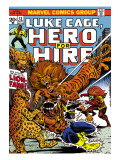 Marvel Comics Retro: Luke Cage, Hero for Hire Comic Book Cover 13, Fighting Lion-fang, Wild Cats Print